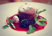 Chocolate fondant with berry sauce, toned — Stock Photo