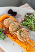 White meat patty cakes with pumpkin — Stock Photo
