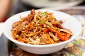 Noodles cooked in wok, asian food — Stock Photo