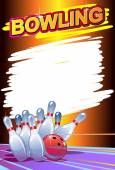 Palla da bowling con perni — Vettoriale Stock