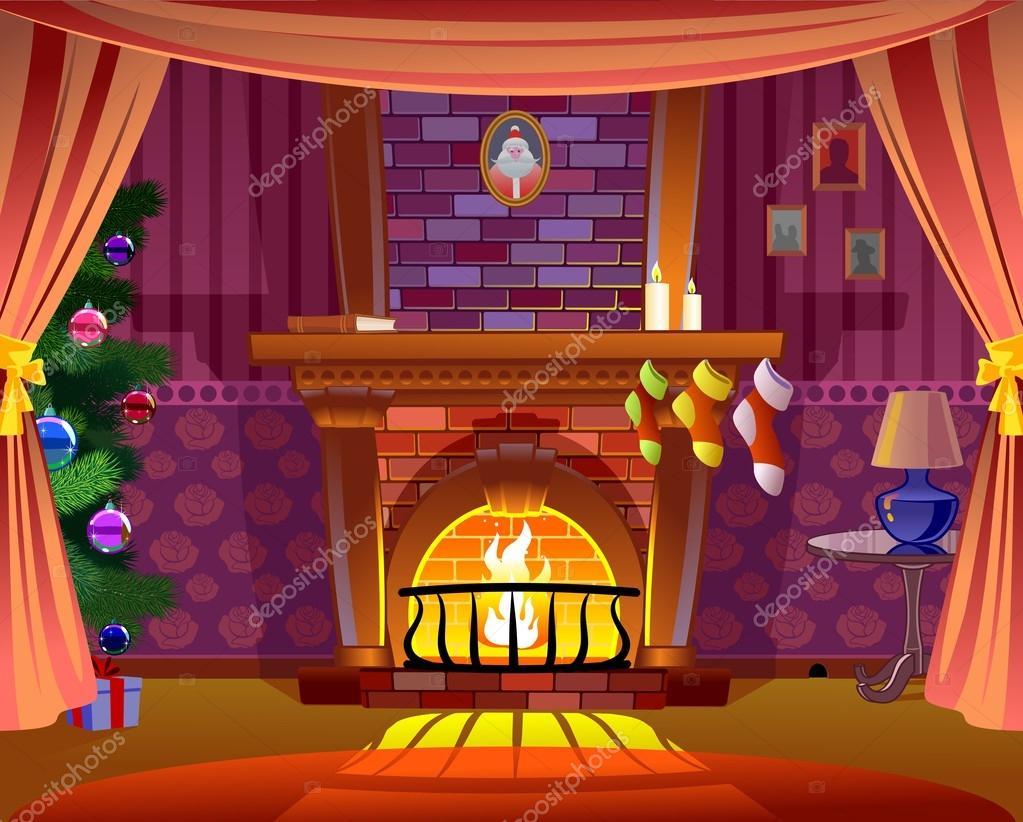 Chimenea de vacaciones de navidad archivo im genes - Dibujos de chimeneas de navidad ...