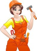 Girl with helmet and belt of tools — Stok Vektör