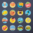 Food Delivery Flat Icon Set — Stock Vector #51933827