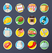 Food Delivery Flat Icon Set — Stock Vector