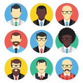 Vector Set of Male Avatars Flat Icon — Stock Vector