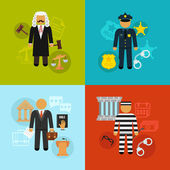Vector crime and punishment law and order social flat icons set — Stock vektor
