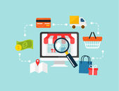 Illustrazione dello shopping online commercio stock vettoriale e — Vettoriale Stock