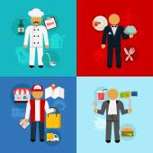 Stock vector working food man flat icon set — Stock Vector