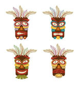 Stock vector tribal ethnic masks and totems icon set — Stock Vector