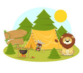 Stock vector flat camping in forest cartoon illustration — Stock Vector