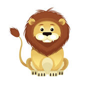 Vector Flat Cartoon Lion Illustration — Stock Vector