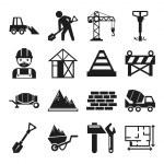 Stock vector construction pictogram simple black icon set — Stock Vector #55331593