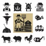 Stock vector pictogram farm black icon set — Stock Vector #55331613