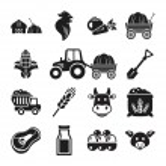 Stock vector pictogram farm black icon set — Stock Vector #55331619