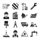 Stock vector construction pictogram simple black icon set — Stock Vector