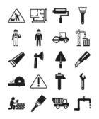 Stock vector construction pictogram simple black icon set — Stock Vector