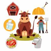 Stock vector farm cow flat illustration simple icon set — Stock Vector