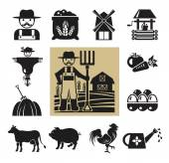 Stock vector pictogram farm black icon set — Stock Vector