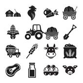 Stock vector pictogram farm black icon set — Stock Vector