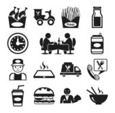 Stock vector food pictogram black icon set — Stock Vector