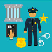 Vector crime and police man social flat icons set — Stock Vector