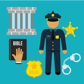 Vector crime and police man social flat icons set — Stok Vektör