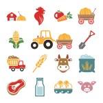 Stock vector color pictogram farm icon set — Stock Vector #55928739