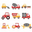 Stock vector construction machine color pictogram icon set — Stock Vector #55928845