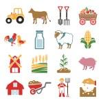 Stock vector color pictogram farm icon set — Stock Vector #55928855