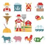 Stock vector color pictogram farm icon set — Stock Vector #55928859