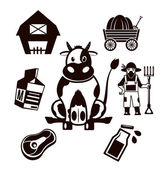 Stock vector farm cow pictogram illustration simple black icon set — Stock Vector