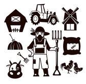 Stock vector farm pictogram illustration black icon set — Stock Vector