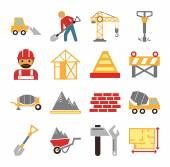 Stock vector construction color simple flat icon set — Stock Vector