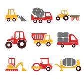 Stock vector construction machine color pictogram icon set — Vettoriale Stock