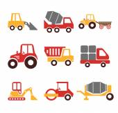 Stock vector construction machine color pictogram icon set — Stockvektor