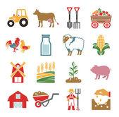Stock vector color pictogram farm icon set — Stock Vector