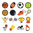 Vector color flat vector set of sports inventory icons — Stock Vector #57047271