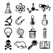Chemistry and science black icon set — Stock Vector