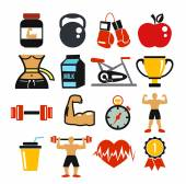 Vector sport and fitness icons set. — Stock Vector