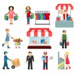 Vector shopping and shipping flat icons set — Stock Vector #57093283