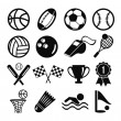 Vector black flat vector set of sports inventory icons — Stock Vector #57093737