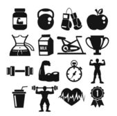 Vector sport and fitness icons set — Stock Vector