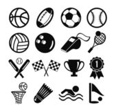 Vector black flat vector set of sports inventory icons — Stock Vector