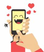 Happy smartphone. Vector flat illustration — Stock Vector