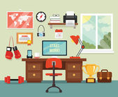 Workplace in room. Vector flat illustration — Stockvektor
