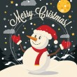 Christmas card with Snowman. Vector flat illustration — Stock Vector #58119393