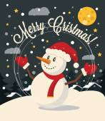 Christmas card with Snowman. Vector flat illustration — Cтоковый вектор