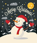 Christmas card with Snowman. Vector flat illustration — Stockvector