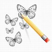 Butterfly sketch. Vector illustration — Stock Vector