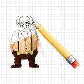 Old man vector sketch illustration — Stock Vector